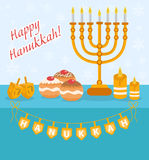 Happy Hanukkah greeting card, invitation, poster. Stock Image
