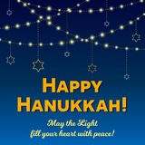 Happy Hanukkah greeting card, Hanukkah lights on dark starry night background. Happy Hanukkah greeting card, lights on dark background. Hanukkah party poster Stock Image