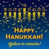 Happy Hanukkah greeting card, Hanukkah lights on dark starry night background. Happy Hanukkah greeting card, lights on dark background. Hanukkah party poster Stock Images