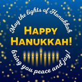 Happy Hanukkah greeting card, lights stars on dark starry night background. Happy Hanukkah greeting card, lights on dark background. Hanukkah party poster Royalty Free Stock Photos