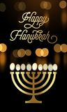 Happy Hanukkah greeting card of menorah candle lights and golden font for Jewish holiday. Vector Chanukah or Hanukah lights festiv vector illustration