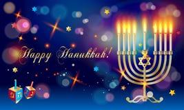 Happy Hanukkah greeting card menorah Stock Image