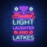 Happy Hanukkah, a greeting card in a neon style. Vector illustration. Neon luminous text on the subject of Chanukah. Bright banner, luminous festive sign Royalty Free Stock Photos