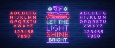 Happy Hanukkah, a greeting card in a neon style. Vector illustration. Neon luminous text on the subject of Chanukah. Bright banner, luminous festive sign Royalty Free Stock Image