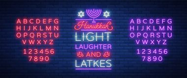Happy Hanukkah, a greeting card in a neon style. Vector illustration. Neon luminous text on the subject of Chanukah. Bright banner, luminous festive sign Stock Photography