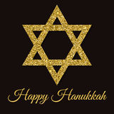 Happy Hanukkah greeting card. Star of David with gold glitter effect. Traditional Jewish symbol. Creative holiday vector Royalty Free Stock Photos
