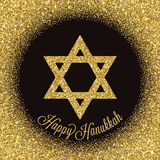 Happy Hanukkah greeting card. Star of David with gold glitter effect. Stock Photography