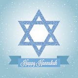 Happy Hanukkah greeting card with Star of David and ribbon. Traditional Jewish symbol. Creative holiday vector Stock Photos
