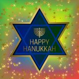 Happy Hanukkah greeting card template on colorful blended background with glittering stars and star of David frame.  Stock Image