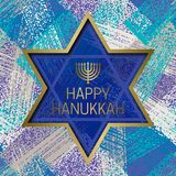 Happy Hanukkah greeting card templates on grunge texture background with star of David frame Royalty Free Stock Photos