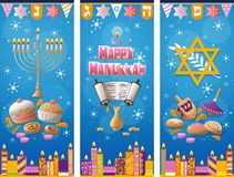 Happy Hanukkah greeting card winter background Stock Images