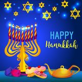 Happy hanukkah holiday concept background, cartoon style stock illustration