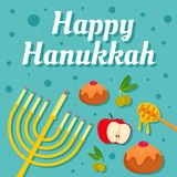 Happy hanukkah holiday concept background, flat style royalty free illustration