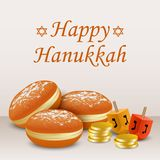 Happy hanukkah holiday concept background, realistic style royalty free illustration