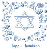 Happy Hanukkah holiday greeting background. With candlestick, star of David, torah, menorah, dreidel and gifts