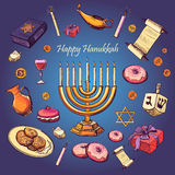 Happy Hanukkah holiday greeting background. Hanukah, Purim