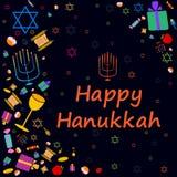Happy Hanukkah holiday greeting background Stock Images
