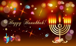 Happy Hanukkah Holiday greeting poster with menorah Royalty Free Stock Photo