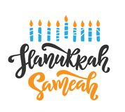 Happy Hanukkah holiday lettering with menorah. Isolated on white. Hand drawn vector typographic design with modern calligraphy royalty free illustration
