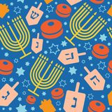 Happy Hanukkah holiday seamless pattern or background. stock illustration