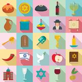 Happy hanukkah icon set, flat style vector illustration