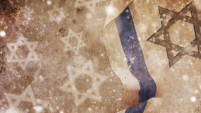 Happy Hanukkah. Israel Flag. Snow and Star of David on Concrete Stock Images