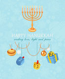 Happy hanukkah, jewish holiday. Hanukkah meora with colorful candles Royalty Free Stock Photo