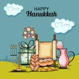 Happy Hanukkah Jewish holiday. Vector Illustration of a Background for Happy Hanukkah Jewish holiday Stock Image
