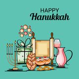 Happy Hanukkah Jewish holiday. Vector Illustration of a Background for Happy Hanukkah Jewish holiday Royalty Free Stock Photos