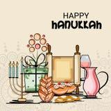 Happy Hanukkah Jewish holiday. Vector Illustration of a Background for Happy Hanukkah Jewish holiday Stock Photos