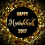 Happy Hanukkah 2017 Jewish lights festival holiday greeting. Card of gold glittering confetti disco background with golden calligraphy lettering text Royalty Free Stock Photos