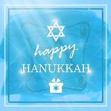 Happy Hanukkah lettering on blue background Stock Photography
