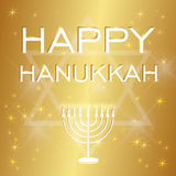 Happy Hanukkah lettering on blur bokeh background. Lettering Happy Hanukkah on dark background bokeh Stock Image