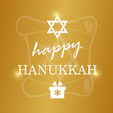 Happy Hanukkah lettering on blur bokeh background Stock Photos