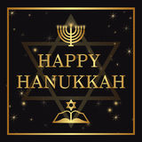 Happy Hanukkah lettering on dark background Royalty Free Stock Photography