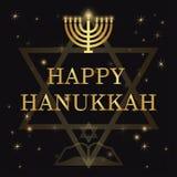 Happy Hanukkah lettering on dark background. Lettering Happy Hanukkah on dark background bokeh Stock Photo