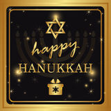 Happy Hanukkah lettering on dark background Royalty Free Stock Photos