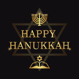 Happy Hanukkah lettering on dark background Royalty Free Stock Photo