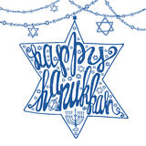 Happy Hanukkah lettering.David Star shape.Blue Royalty Free Stock Photo