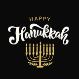 Happy Hanukkah lettering. Hand drawn vector typographic design with modern calligraphy with menorah