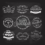 Happy Hanukkah logotype, badge and icon typography set Royalty Free Stock Image