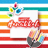 Happy hanukkah with menorah and burning candles, dreidels Stock Images
