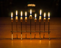 Happy Hanukkah!. Menorah burning on the last night of Hanukkah