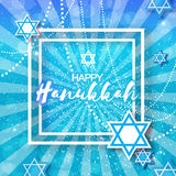 Happy Hanukkah with origami blue Magen David stars. Happy Hanukkah with origami Magen David stars. Papercraft jewish holiday simbol on blue background with Stock Image