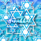 Happy Hanukkah with origami blue Magen David stars. Happy Hanukkah with origami Magen David stars. Papercraft jewish holiday simbol on blue background with Royalty Free Stock Photography