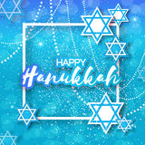 Happy Hanukkah with origami blue Magen David stars. Papercraft jewish holiday simbol on blue background with frame for text. Vector design illustration Royalty Free Stock Photos