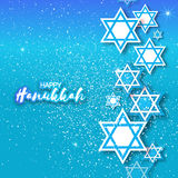 Happy Hanukkah with origami Magen David stars. Papercraft jewish holiday simbol on blue background. Vector design illustration Stock Photo