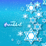 Happy Hanukkah with origami Magen David stars. Papercraft jewish holiday simbol on blue background. Vector design illustration Stock Photos