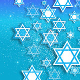 Happy Hanukkah with origami Magen David stars. Magen David stars. Papercraft jewish holiday simbol on blue background. Vector design illustration Stock Photo