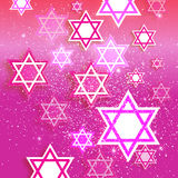 Happy Hanukkah with origami Magen David stars. Magen David stars. Papercraft jewish holiday simbol on pink background. Vector design illustration Stock Image